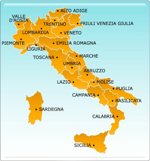 mapa de italia por regiões Passeando pela Itália: As regiões   Fórum de Idiomas mapa de italia por regiões